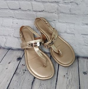 Coach Gold Thong Sandals Size 7.5B